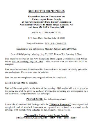 Contract Bid Proposal Template
