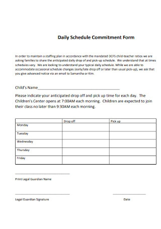 Daily Schedule Commitment Form