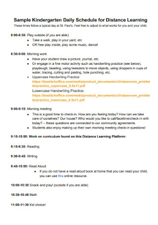 Daily Schedule for Distance Learning