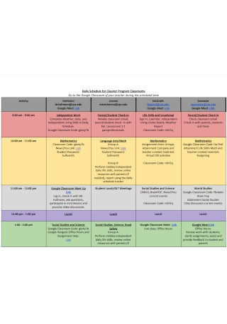 Daily Schedule for Program Classrooms