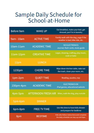Daily Schedule for School at Home