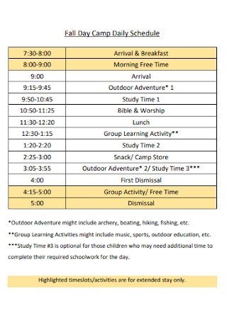 Day Camp Daily Schedule
