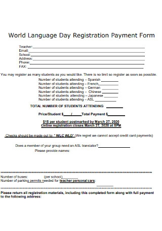 Day Registration Payment Form