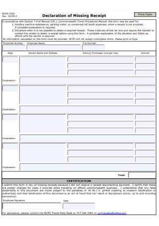 Declaration of Missing Receipt Form