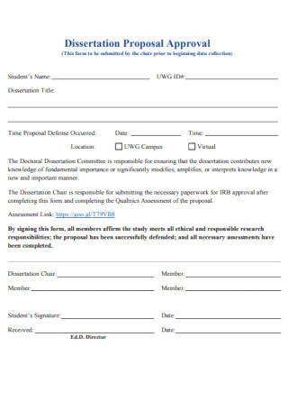 Dissertation Proposal Approval Template