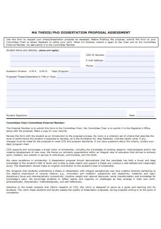 Dissertation Proposal Assessment Template