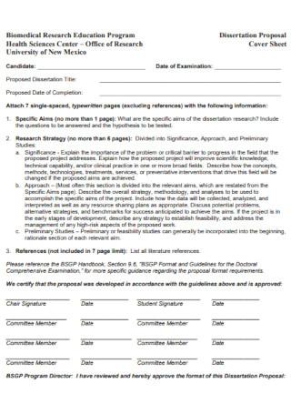 Dissertation Proposal Cover Sheet