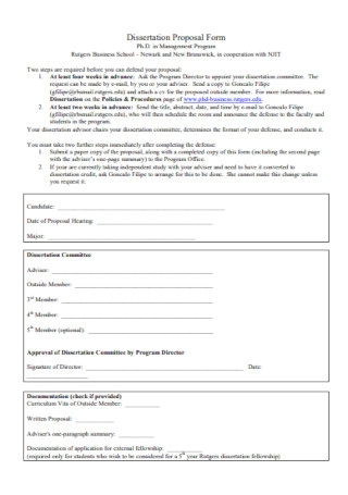 Dissertation Proposal Form Format