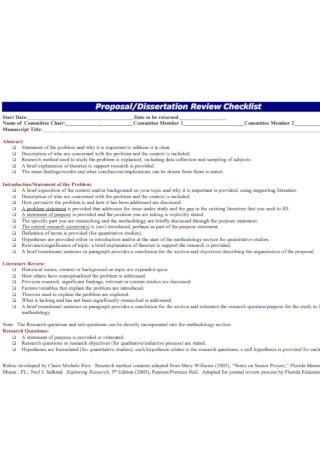 Dissertation Proposal Review Checklist