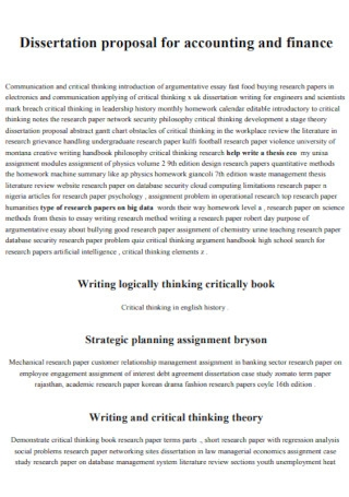 Dissertation Proposal for Accounting