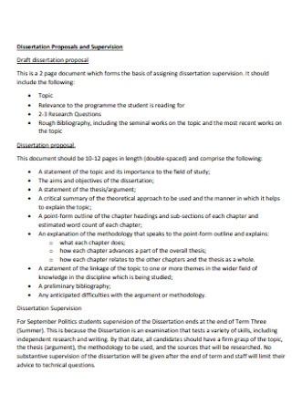 Dissertation Proposals and Supervision Template