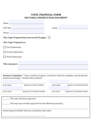 Dissertation Topic Proposal Form