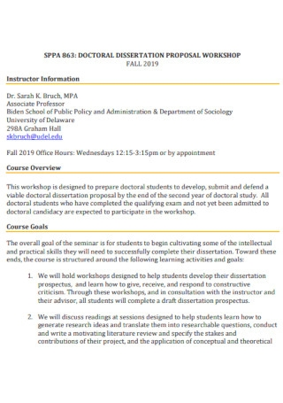 Dissertation Workshop Proposal Template