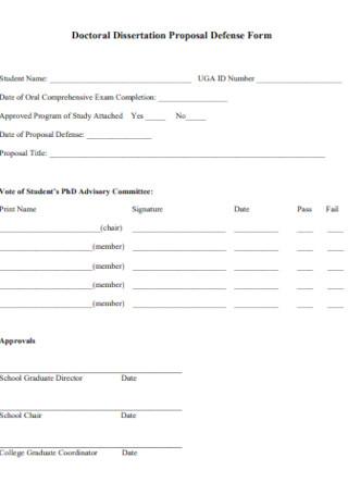 Doctoral Dissertation Proposal Defense Form