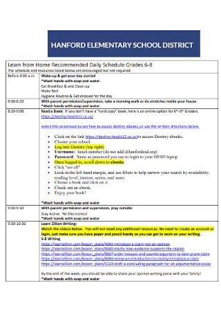 Elementory School Daily Schedule