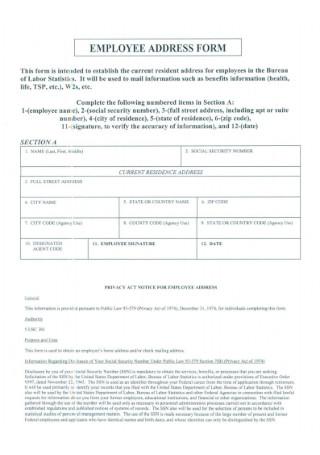 Employee Address Form Template
