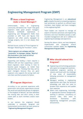 Engineering Training Proposal Template