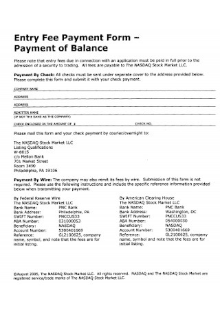Entry Fee Payment Form