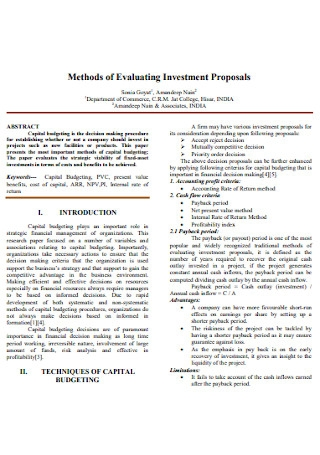 Evaluating Investment Proposals