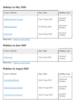 Event Holiday List