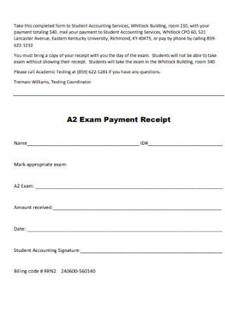 Exam Payment Receipt