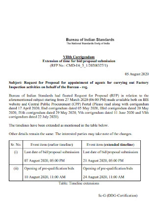 Extension of Bid Proposal
