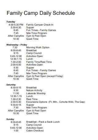Family Camp Daily Schedule