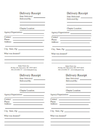 Formal Delivery Receipt Template