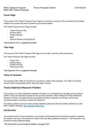 Formal Thesis Proposal Template