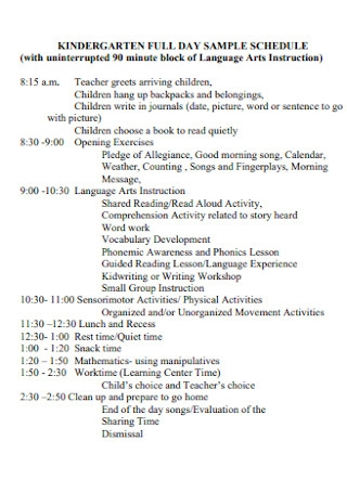 Full Day Daily Schedule