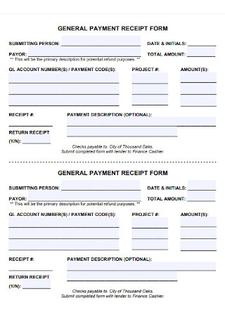 General Payment Receipt Form