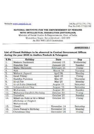 Government Offices Holiday List