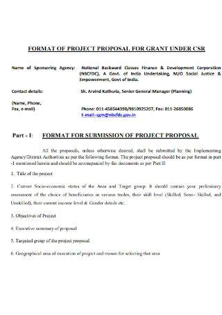 Grant Project Proposal Format