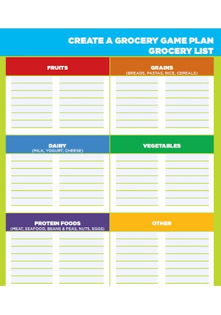 Grocery Game Plan List