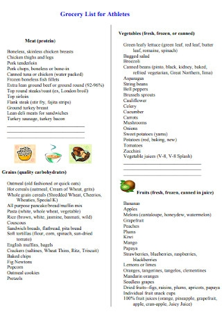 Grocery List for Athletes Template
