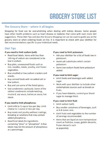Grocery Store List Template