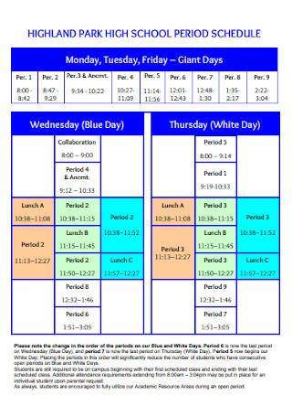 High School Daily Period Schedule
