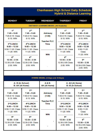 High School Daily Schedule
