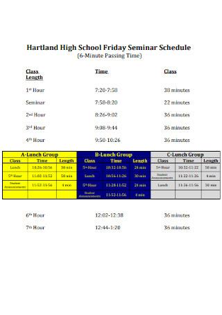 High School Hourly Schedule