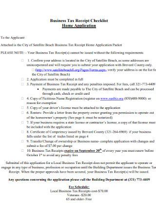 Home Business Tax Receipt Checklist