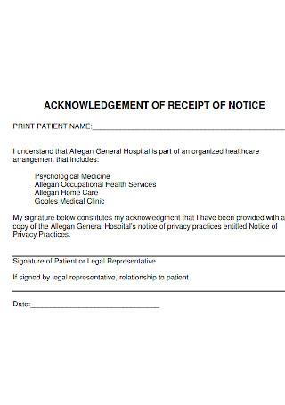 Hospital Acknowledgement Receipt