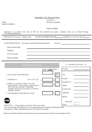 Hospitality Tax Payment Form