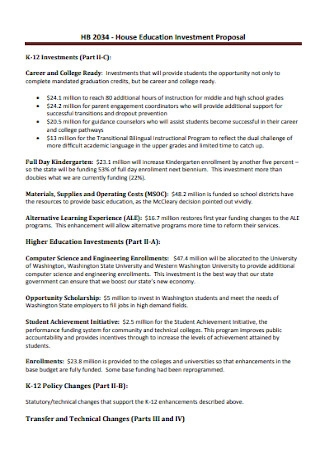 House Education Investment Proposal