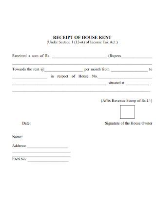 House Rent Tax Receipt