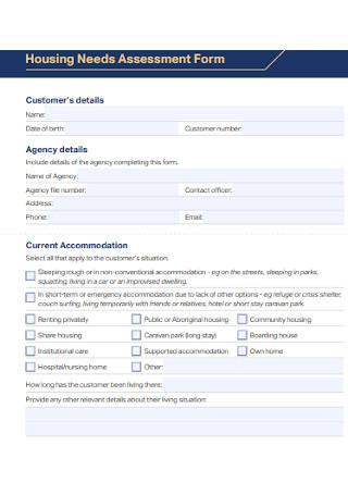 Housing Needs Assessment Form