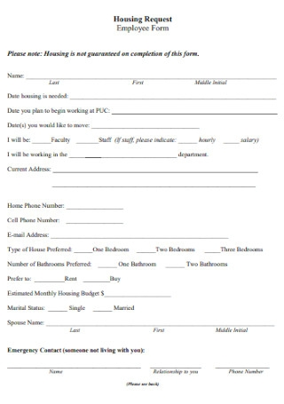 Housing Request Employee Form