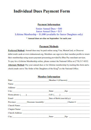 Individual Dues Payment Form