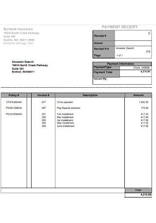 Insurance Payment Receipt