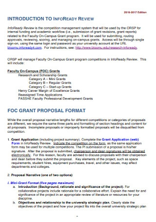 Internal Grant Proposal Template