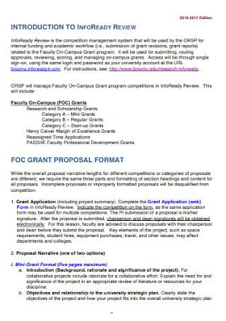 Internal Grant Proposal Template
